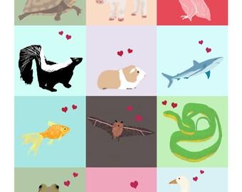 Sweet Animal School Valentine's, Instant Printable sheet of 12