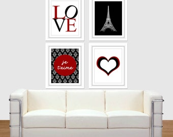 Eiffel Tower Set, French Art, Blood Red, Black, Home Decor, Wall Art, Printable Art, Printable, Paris Wall Art, je a'taime, 8x10 16x20, LOVE