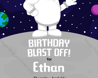 Astronaut Birthday Invitation - printable design, customizable, instant download For Boys or Girls Birthday Outer Space Party