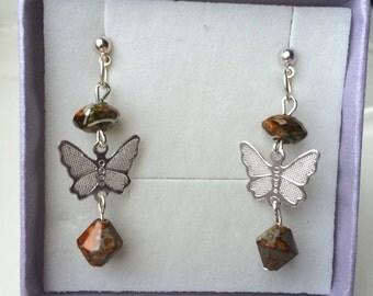 Butterfly Earrings Brown/Grey Beads