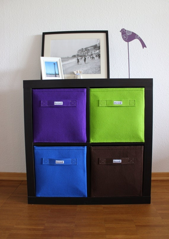 felt box basket for ikea expedit and kallax bin bag by stichhaltig. Black Bedroom Furniture Sets. Home Design Ideas