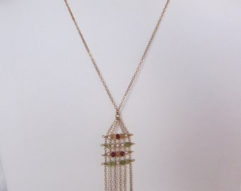 Citrine, Peridot, Garnet, Pearl Handmade Necklace with 14K Gold Filled Chain