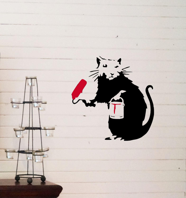 Banksy painting rat reusable stencil for room interior decor for Banksy rat mural