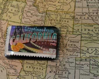 Resin California Postage Stamp Magnet
