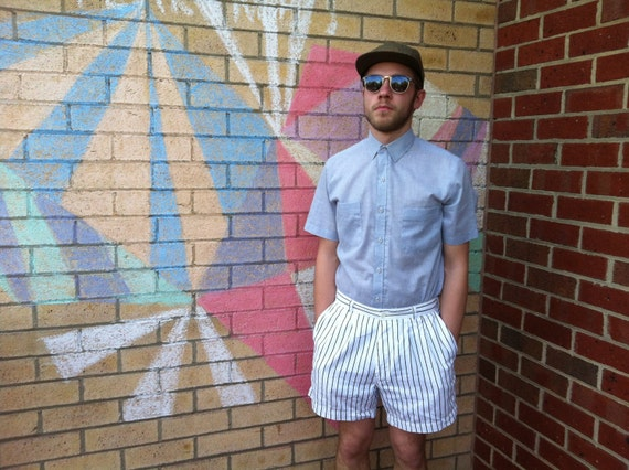 80s Mens Black and White Stripe Shorts S