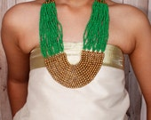 Beaded Necklace/ Unique Necklace/ Beaded Jewelry/ Statement Necklace/ Green & Gold Necklace/ Bib Necklace/ Long Necklace