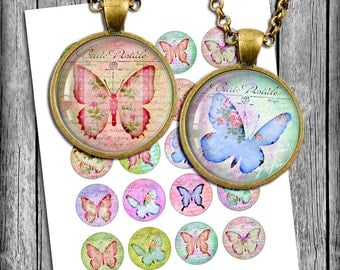 Romantic Butterflies Circle Images 1 inch, 1.5 inch, 1.25 inch, 30mm, 25mm for Glass Pendants, Bottle caps Printable Digital Collage Sheet