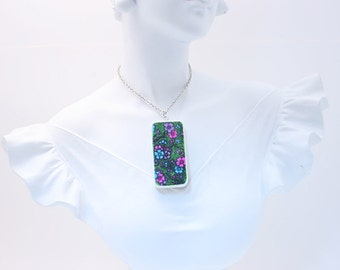 "Art Nouveau Floral (#2), Tile Pendant, Hand Decorated, 2"" x 1"" Up-cycled Domino Tile Pendant Necklace"