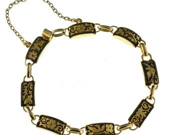 Gold Filled Oxidized Floral Bracelet