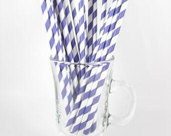 50 Purple Stripe Paper Straws | Purple Paper Straws | Purple Party Straws | Purple Drinking Straws | Stripe Paper Straw