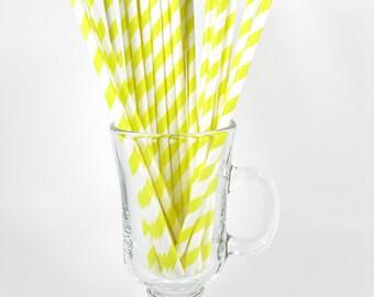25 Yellow Stripe Paper Straws | Yellow Paper Straws | Yellow Party Straws | Yellow Drinking Straws | Stripe Paper Straw