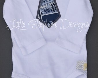 Appliqué Tie Bodysuit, six month size, long sleeve, star wars patterned with grey accent tie - perfect for any little star wars fan