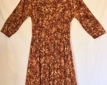 1950s Auburn Swirl Print A Line Silhouette Dress size XS
