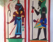 Vintage 50s Mid Century Egyptian Gods Themed Appliqué Quilt Textile Wall Hangings