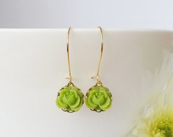 Green earrings, green gold earrings, green flower earrings, gold dangle earings, green earring and necklace set, rose green earrings