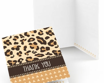 Leopard Thank You Cards - Baby Shower Thank You Cards - Birthday Party Thank Yous - Bridal Thank You Cards - Set of 8 Folding Note Cards