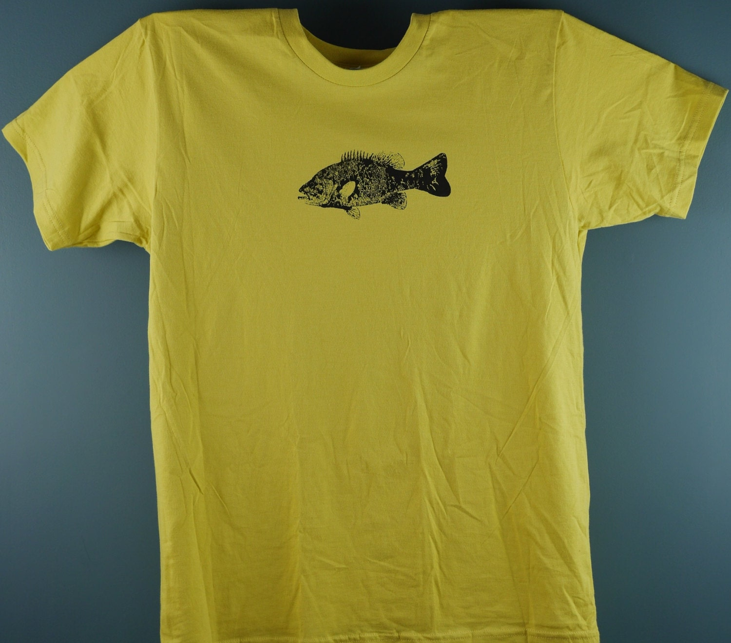 Fish print t shirt unisex american apparel size lage in for Fish print shirt