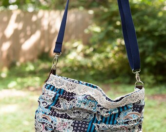 Navy and Cream Hobo Bag. Detachable, Adjustable Strap. Cotton and Lace. Large Carry All Purse. Abstract Floral and Stripes. Crossbody Bag.
