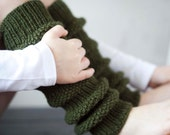Girls Leg Warmers-Winter fashion - Knit Leg Warmers - moss green girl leggings