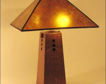 Mission table lamp ,The Charleston QSW Oak amber mica shade