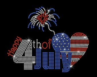 Happy 4th Of July Fireworks USA United States Heart American Flag Rhinestone Bling Heat Iron On Tshirt Transfer