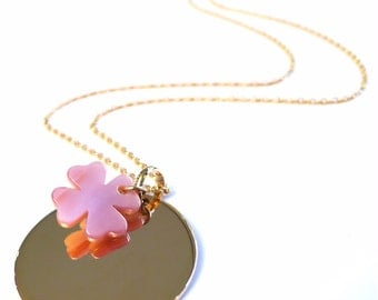 Custom necklace medal round gold plated