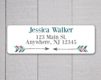Arrow Address Labels, Return Address Labels, Arrow Address Label, Return Address Sticker, Blue Red and Grey Address Stickers  (#322-1)