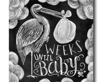 Baby Countdown, Baby Countdown Chalkboard, Pregnancy Countdown, Pregnancy Announcement, Mom To Be Gift, Chalkboard Sign, Chalk Art, Stork