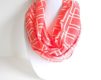 Geo Print Scarf, Coral & White Scarf, Spring Scarf, Women's Scarf, Gift for her
