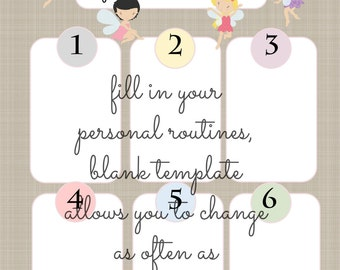 INSTANT DIY My Routine Girl Theme Morning Afternoon and Bedtime or To Do List Fairies on Linen