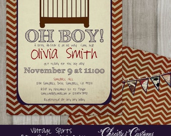 Vintage Sports Baby Shower Invitation, Digital or Printed
