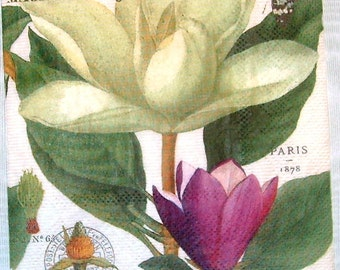 TWO (2) Magnolia Flowers, White Flowers, Paper Cocktail Napkins for Decoupage and Paper Crafts