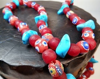 Handmade African Tribal Necklace Turquoise Recycled Glass Haind Painted OOAK