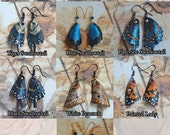Leather Carved Butterfly Insect Wing Earrings - Choose Your Style