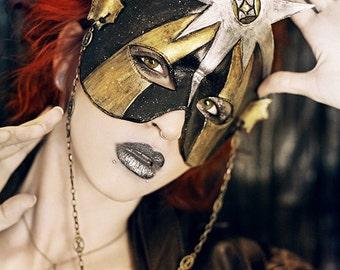Tarot The Star Mardi Gras Masquerade Necklace Mask Celestial Gold, Black, and Silver