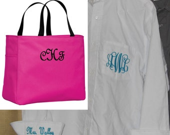 Monogrammed Oversize Button Down and Essential Tote