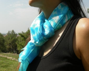 Scarf. Shawl. Kerchief. Silk. Natural silk. Hand painted. Turquoise. Emerald green.
