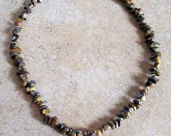 Tiger Iron Crystal Gemstone Heart Necklace