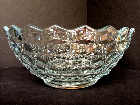 Vintage Fostoria American Clear Glass Bowl 10 Inch Serving Or