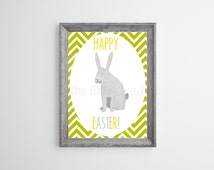 Happy Easter Printable Bunny Rabbit Easter Spring Poster - green chevron - Instant Download.