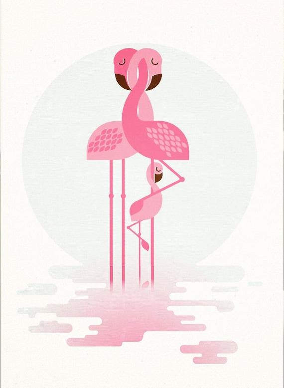 Flamingo Family, Retro Print, Wall Art, Home Decor