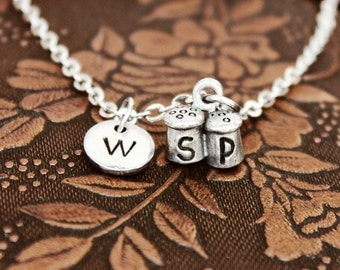 Salt and Pepper Necklace, Initial Necklace Personalized Necklace, Engraved Necklace, Custom Necklace, Salt Shaker Necklace Monogram Necklace