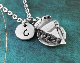 Slice of Pie Necklace, Personalized Necklace, Pie Pendant, Custom Necklace, Apple Pie Jewelry, Pie Charm Necklace, Custom Gift for Baker