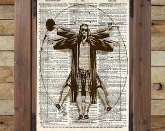 Big Lebowski art - Vitruvian Dude - The Dude art print - Dictionary print art