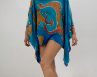 ON SALE 50% Plus size Tunic Hand Painted Natural Silk tunic Short dress Sea gardens Floral Turquoise and Peach Summer beach Party fashion