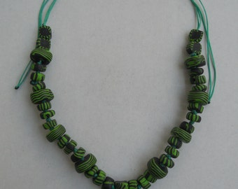 Green necklace,Polymer clay jewelry,Chunky bead necklace,Tribal necklace,Adjustable,Unisex gift,for him,For her,Ethnic rave handmade jewelry