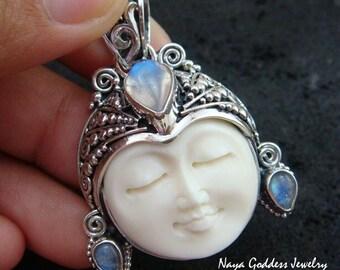 925 Silver & Rainbow Moonstone Naya Goddess Pendant NG-972