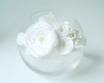 Flower girl headband Christening girl headband Floral white headband Baby Headband White headband Handmade Headband