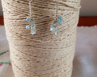 pretty handmade sterling silver, aquamarine and pearl earrings