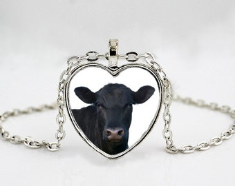 Black Angus Cow - Cattle Breeds - Show Breed - 4H - FFA - Silver or Gold Pendant Necklace - Western Wear - Cowgirl
